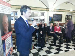 Tom Mallens at his book launch on March 24th at the IoD