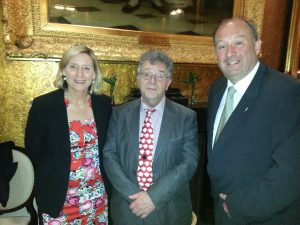 Prof Paul Moorcraft with Wendy Yorke and Robert Frith at the Literary Dinner